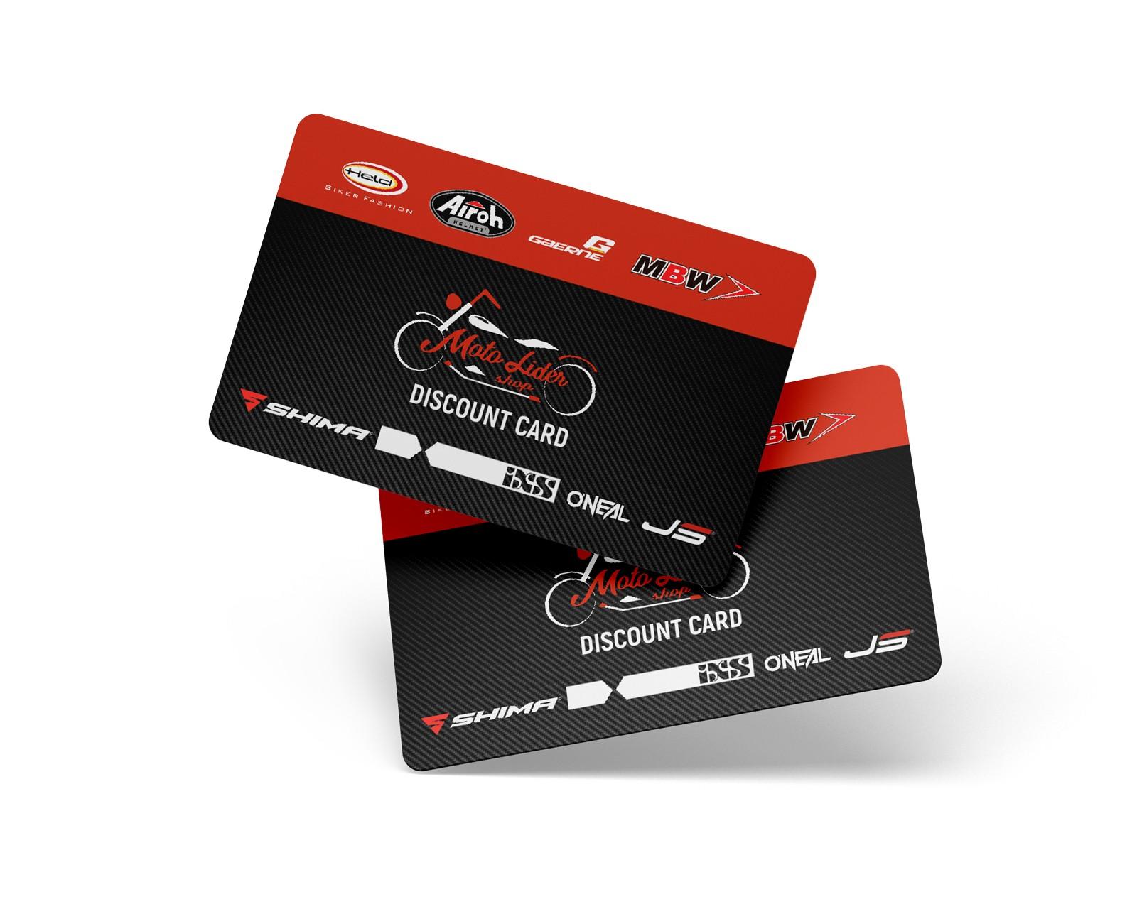 Carduri de reducere «MOTOLIDER» pentru achiziționarea de bunuri pe site și în centrul comercial