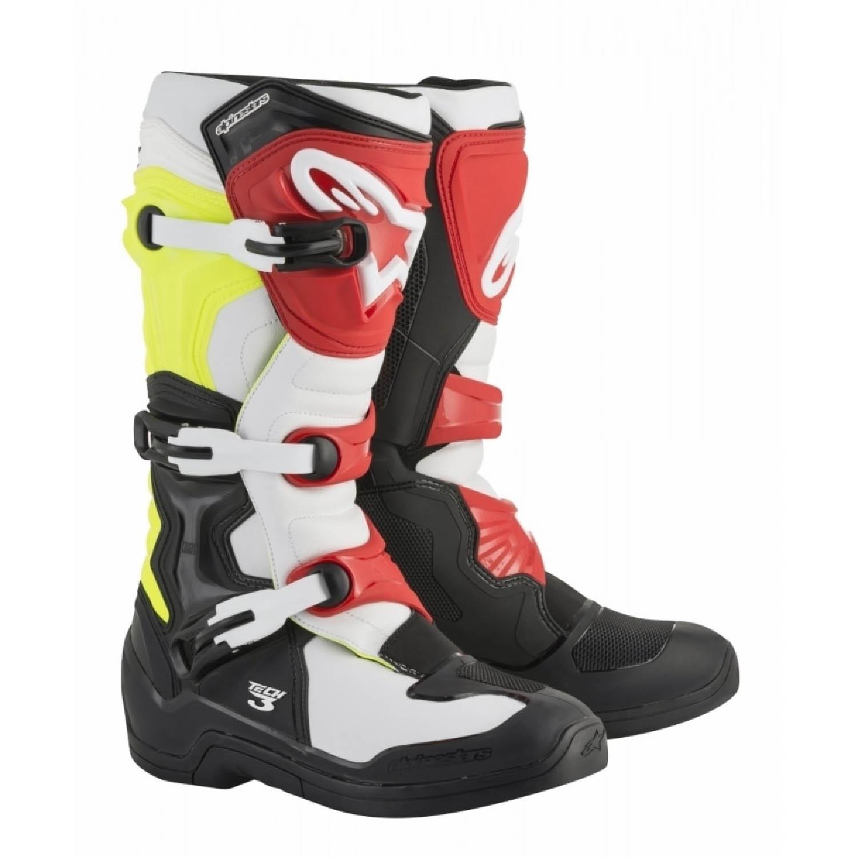 ALPINESTARS TECH 3 спортивные сапоги, чёрно-бело-желто-красного цвета для мотокросса купить по низкой цене
