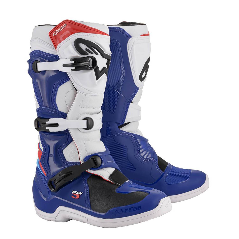 ALPINESTARS TECH 3 спортивные сапоги, сине-бело-красного цвета для мотокросса купить по низкой цене