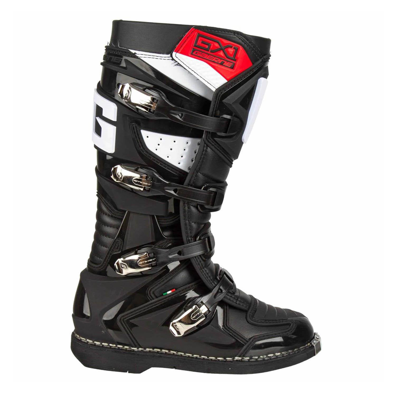 GAERNE GX-1 черного цвета спортивные сапоги для мотокросса, вид с наружной стороны купить по низкой цене