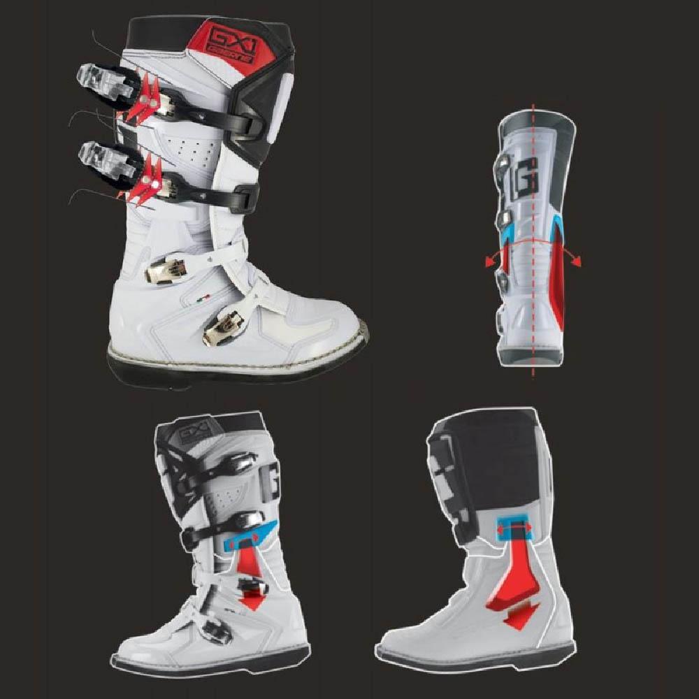 GAERNE GX-1 белого цвета спортивные сапоги для мотокросса, вид система защиты