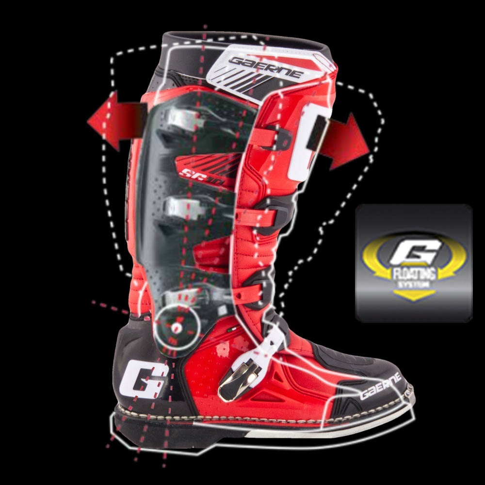 GAERNE SG-10 черно-красного цвета спортивные сапоги для мотокросса, вид шарнирная система купить по низкой цене