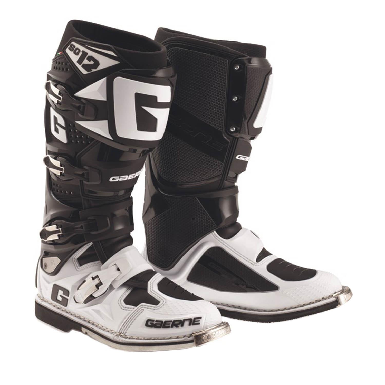 GAERNE SG-12 черно-белого цвета спортивные сапоги для мотокросса купить по низкой цене