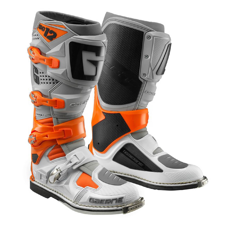 GAERNE SG-12 цвет серо-оранжево-белый спортивные сапоги для мотокросса купить по низкой цене