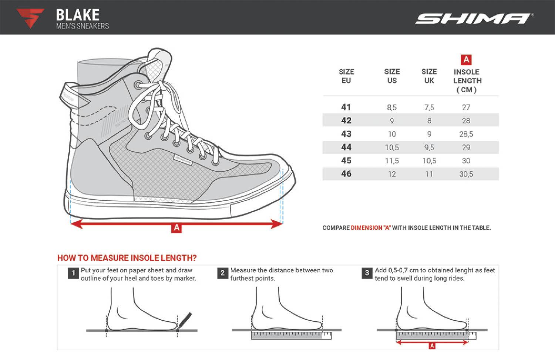 Таблица размеров: мотоциклетные ботинки SHIMA BLAKE BOOTS из кожи купить по низкой цене