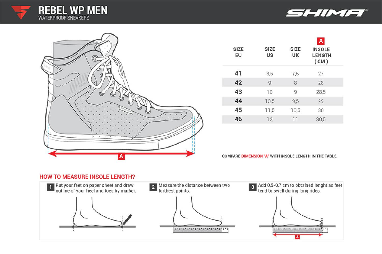 SHIMA REBEL WP мотоциклетные кроссовки таблица размеров
