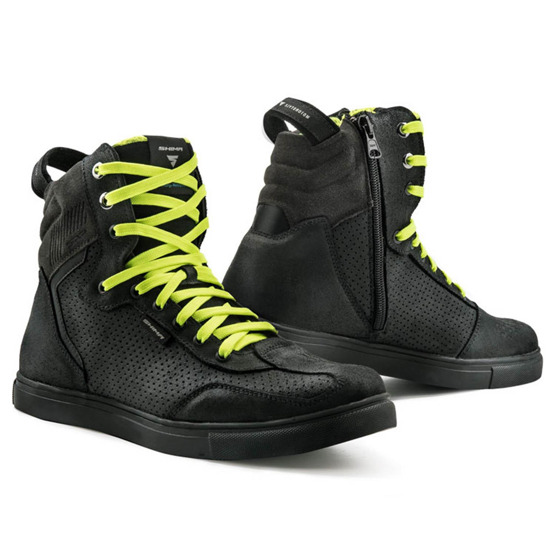 SHIMA REBEL WP черного цвета с желтыми шнурками мотоциклетные кроссовки купить по низкой цене