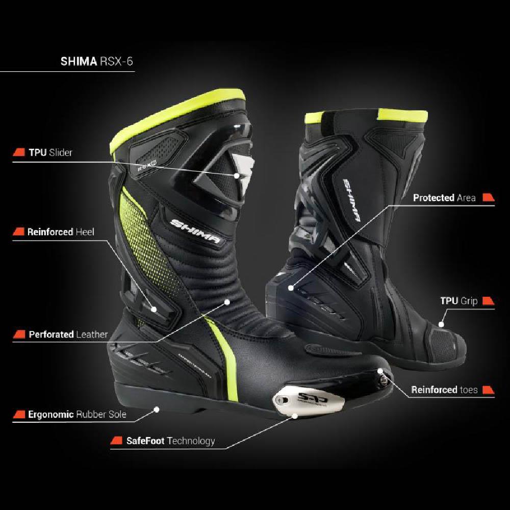 Мотоциклетные сапоги SHIMA RSX-6 система защиты купить по низкой цене