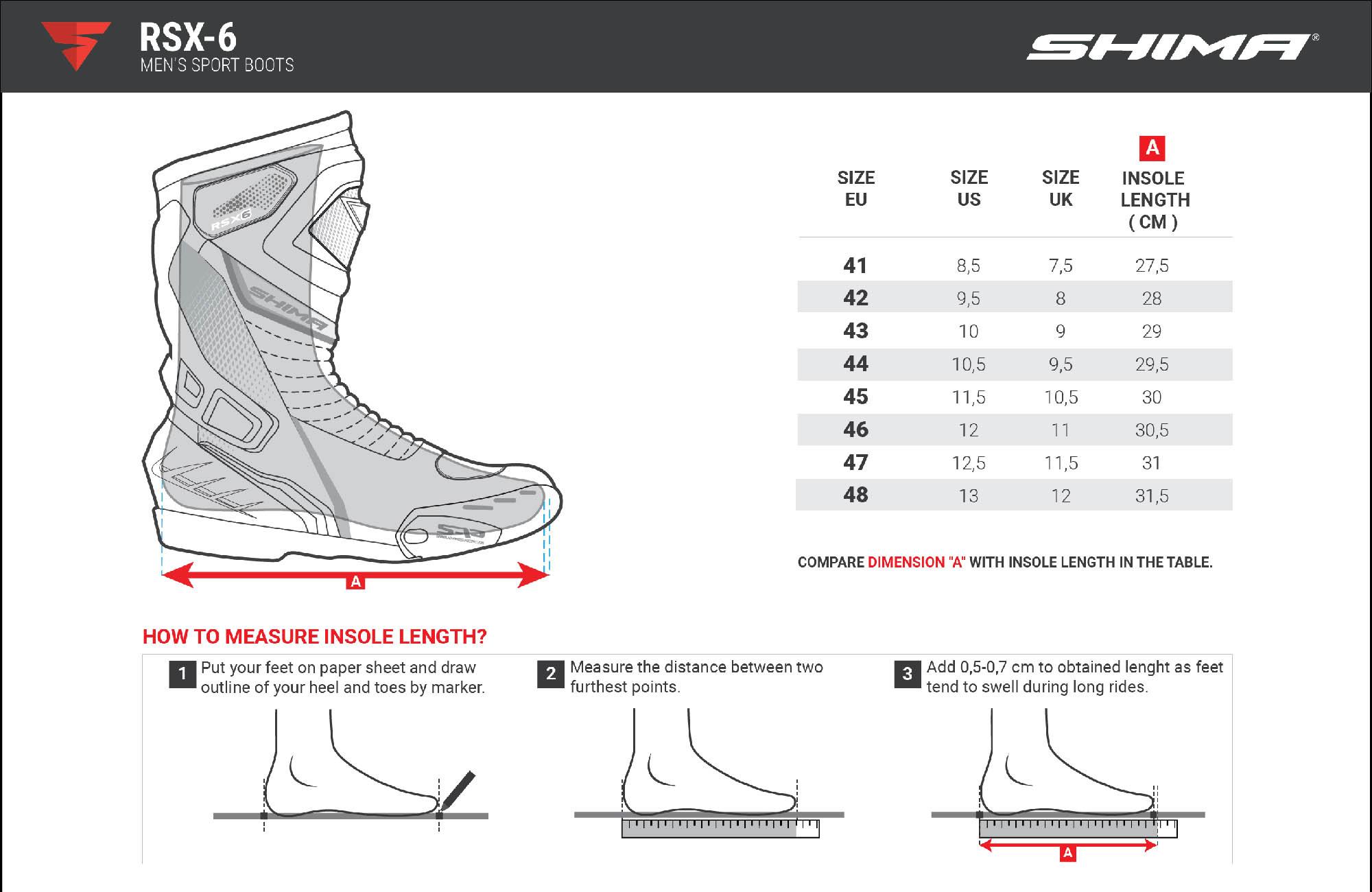 Таблица размеров: мотоциклетные сапоги SHIMA RSX-6