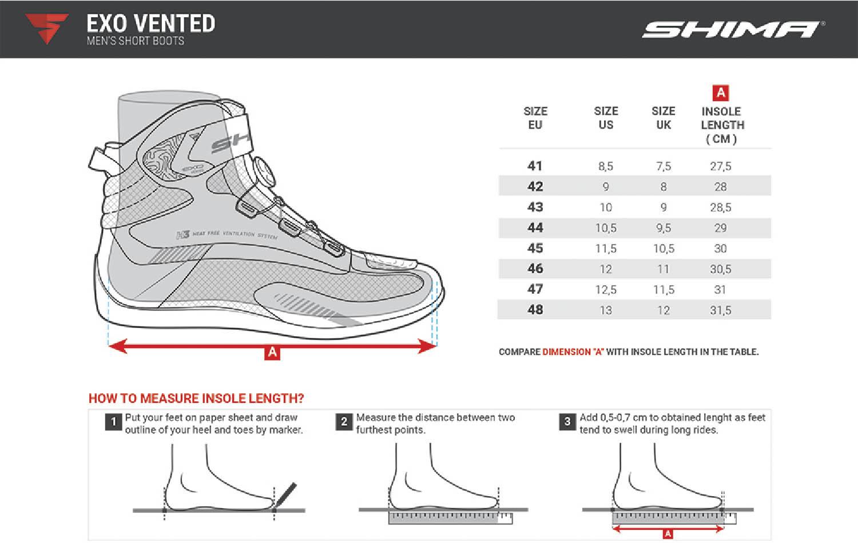 Таблица размеров: мотоциклетные ботинки SHIMA EXO VENTED из кожи и текстиля купить по низкой цене