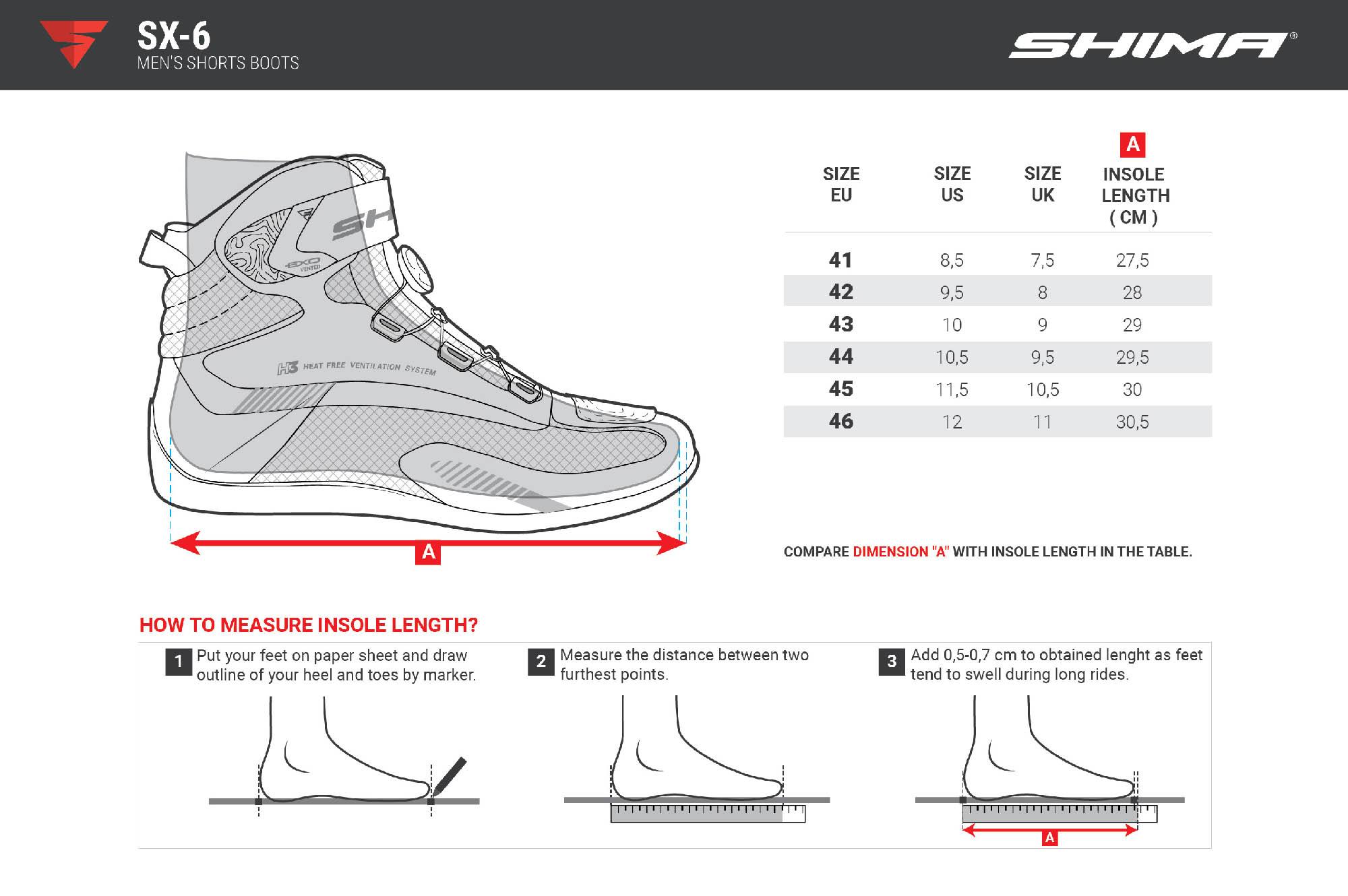 Таблица размеров: мотоциклетные ботинки SHIMA SX-6 из микрофибры вид сбоку снаружи купить по низкой цене