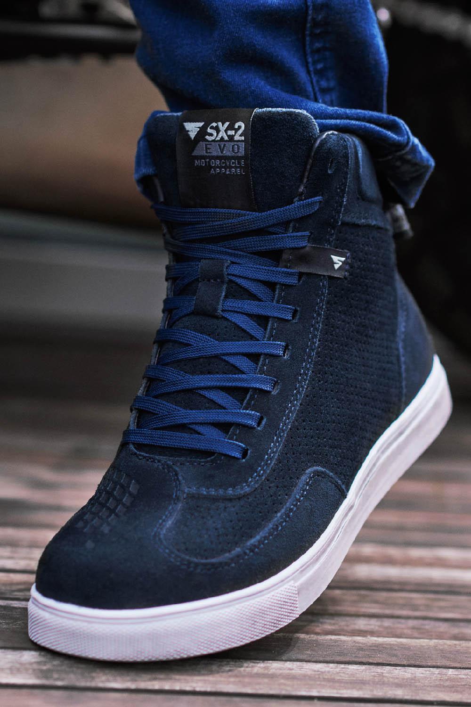 SHIMA SX-2 EVO синего цвета мотоциклетные кроссовки, вид сзади купить по низкой цене