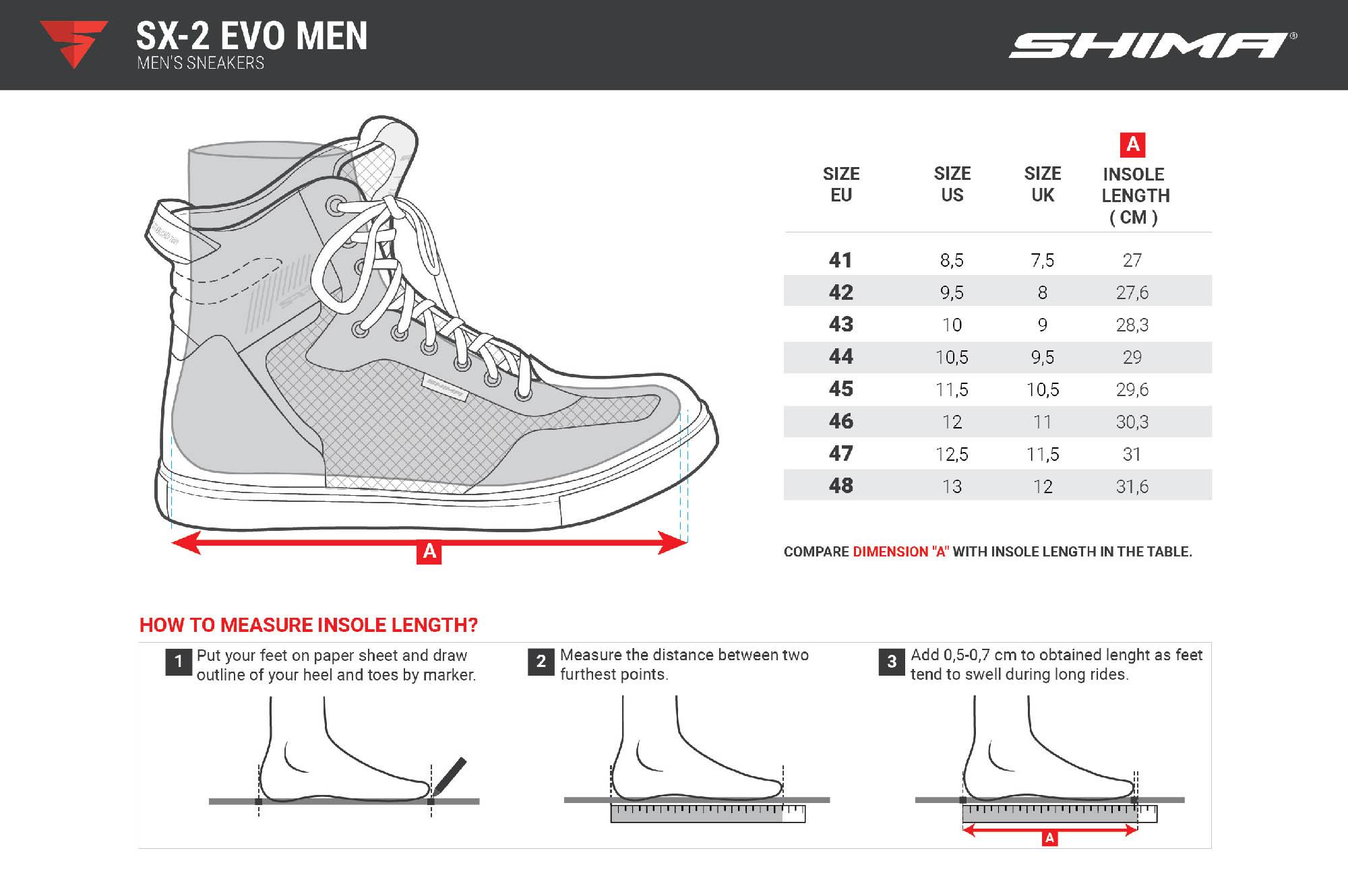 SHIMA SX-2 EVO мотоциклетные кроссовки таблица размеров