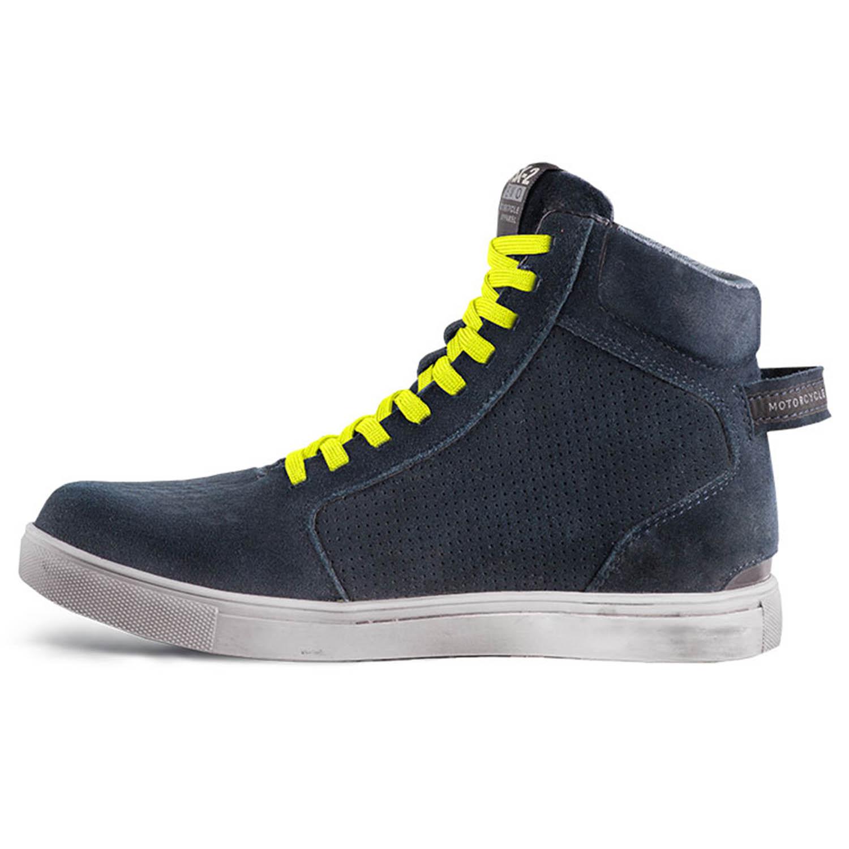 SHIMA SX-2 EVO синего цвета с желтыми шнурками мотоциклетные кроссовки, вид вид с внутренней стороны купить по низкой цене