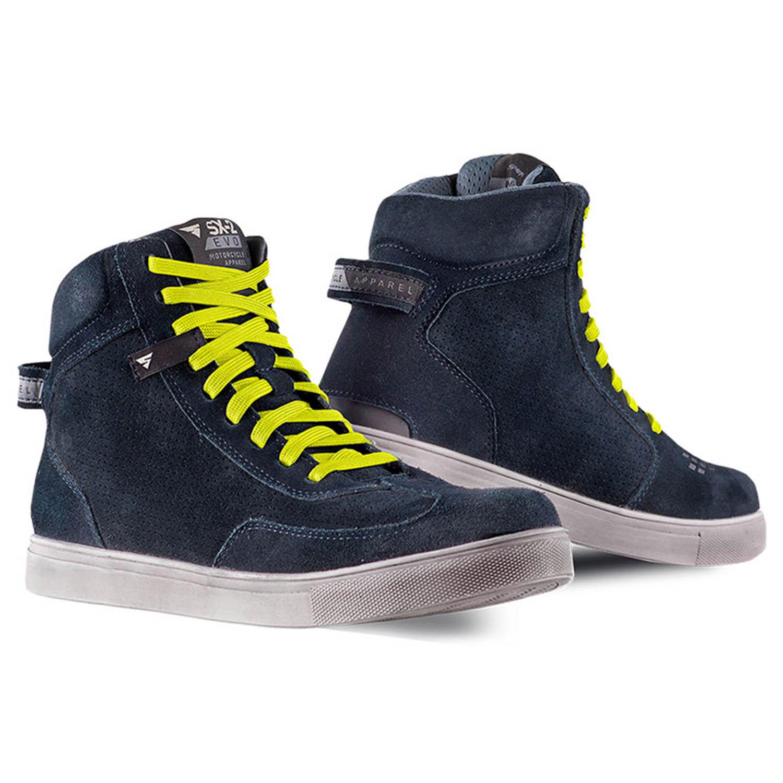 SHIMA SX-2 EVO синего цвета с желтыми шнурками мотоциклетные кроссовки купить по низкой цене