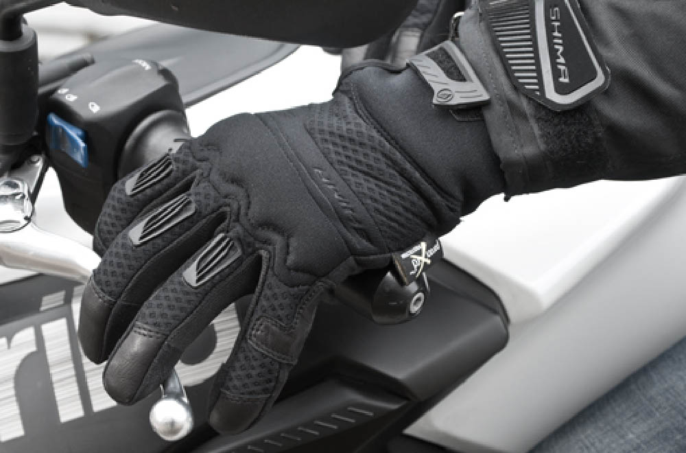 SHIMA AIR мотоциклетные перчатки из кожи и текстиля, вид на ручке сцепления купить по низкой цене
