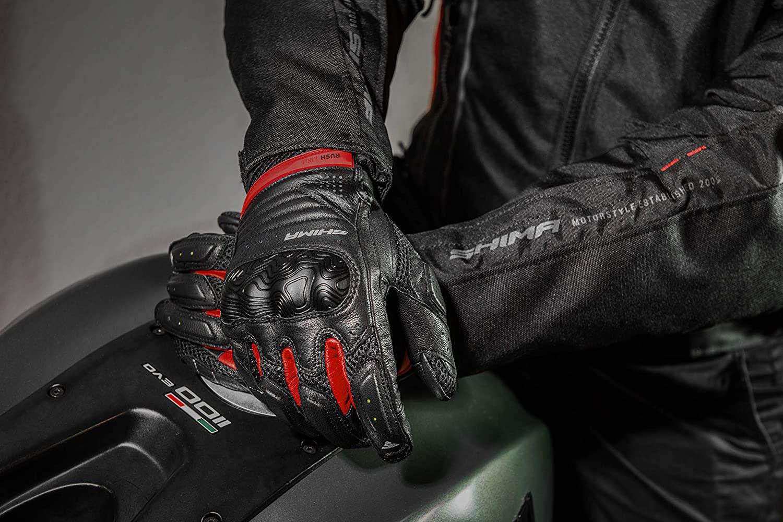 SHIMA RUSH мотоциклетные перчатки из кожи, вид на бензобаке купить по низкой цене