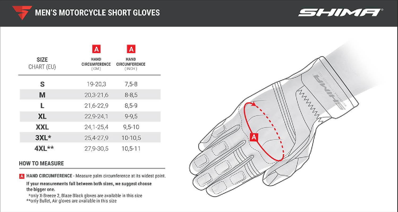 Таблица размеров: SHIMA мотоциклетные перчатки с короткой манжетой
