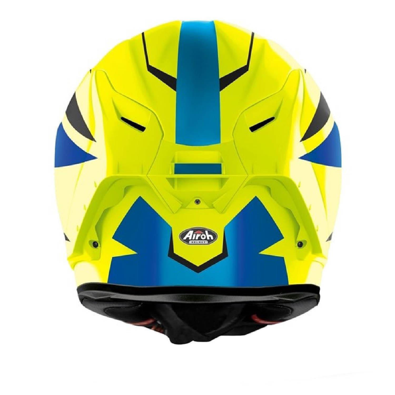Шлем интегральный AIROH GP550 S VEKTOR синего цвета, вид сзади купить по низкой цене