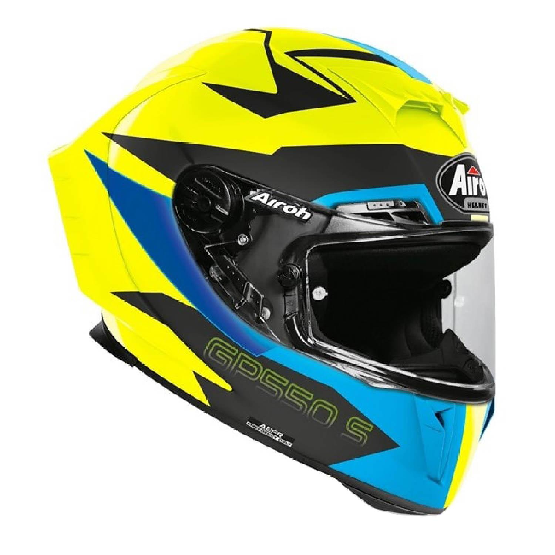 Шлем интегральный AIROH GP550 S VEKTOR синего цвета, вид справа купить по низкой цене
