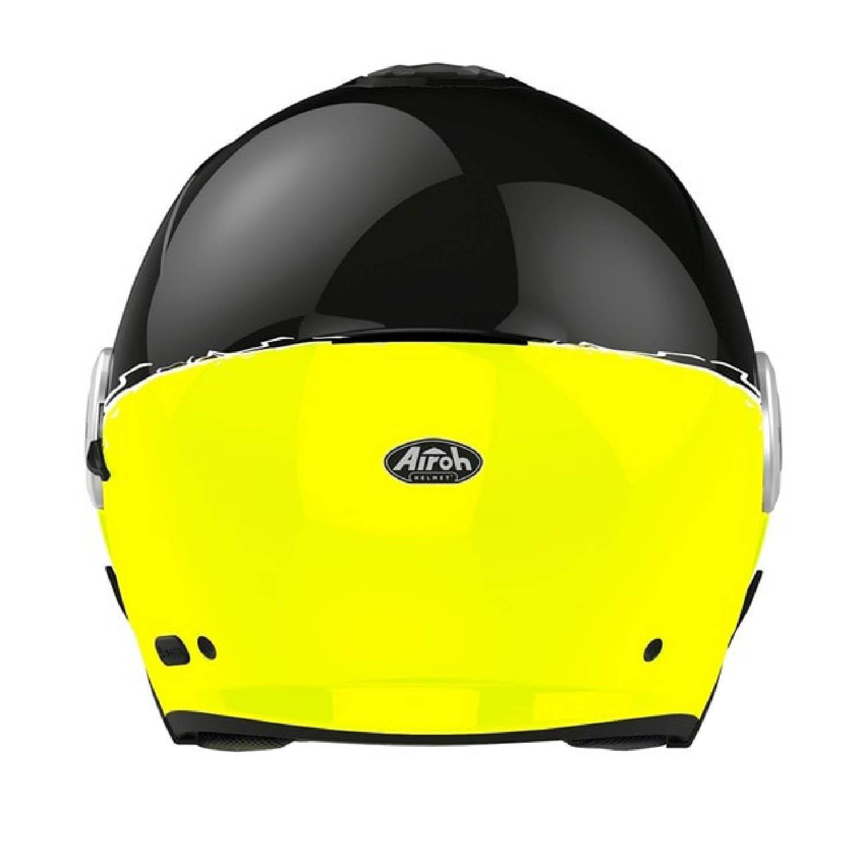 Шлем открытый AIROH HELIOS FLUO желтого глянцевого цвета, вид сзади купить по низкой цене