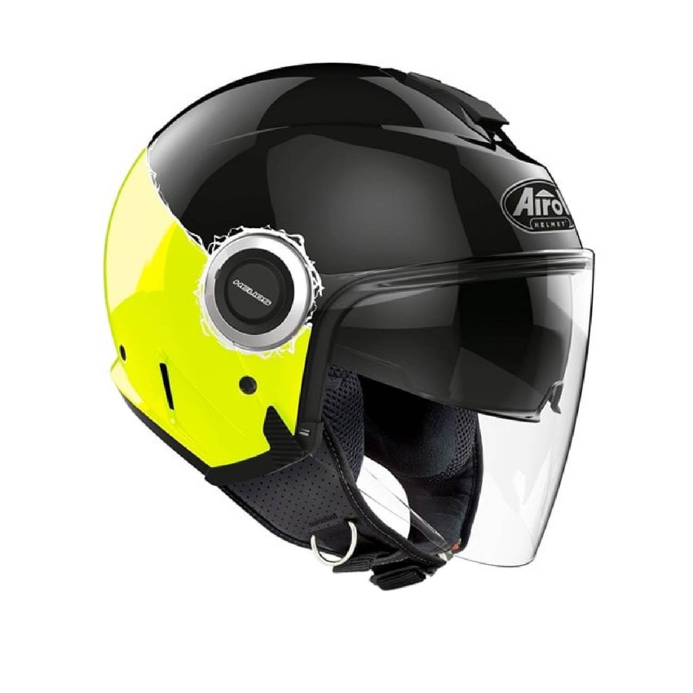 Шлем открытый AIROH HELIOS FLUO желтого глянцевого цвета, вид справа купить по низкой цене