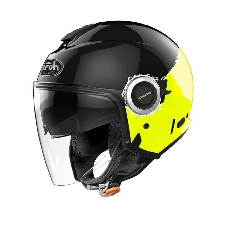 Шлем открытый AIROH HELIOS FLUO желтого глянцевого цвета купить по низкой цене