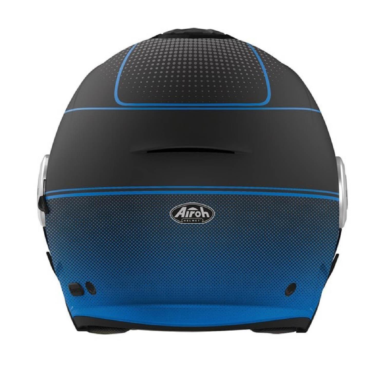 Шлем открытый AIROH HELIOS MAP синего матового цвета, вид сзади купить по низкой цене