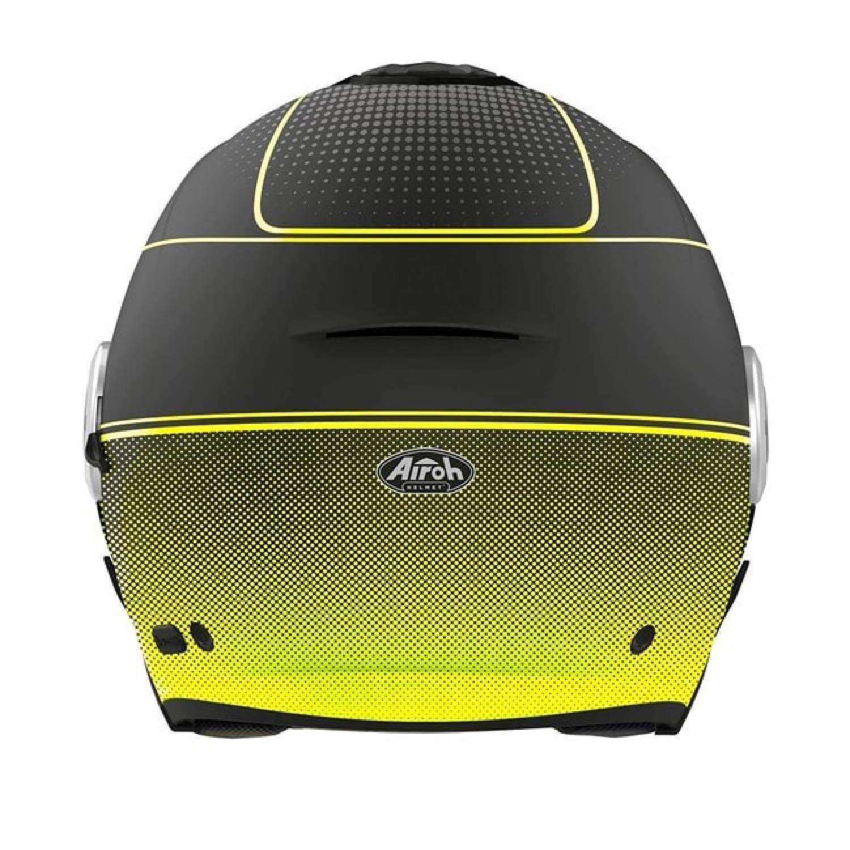 Шлем открытый AIROH HELIOS MAP желтого матового цвета, вид сзади купить по низкой цене