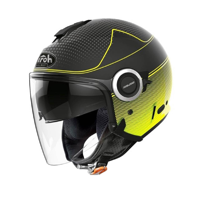 Шлем открытый AIROH HELIOS MAP желтого матового цвета купить по низкой цене
