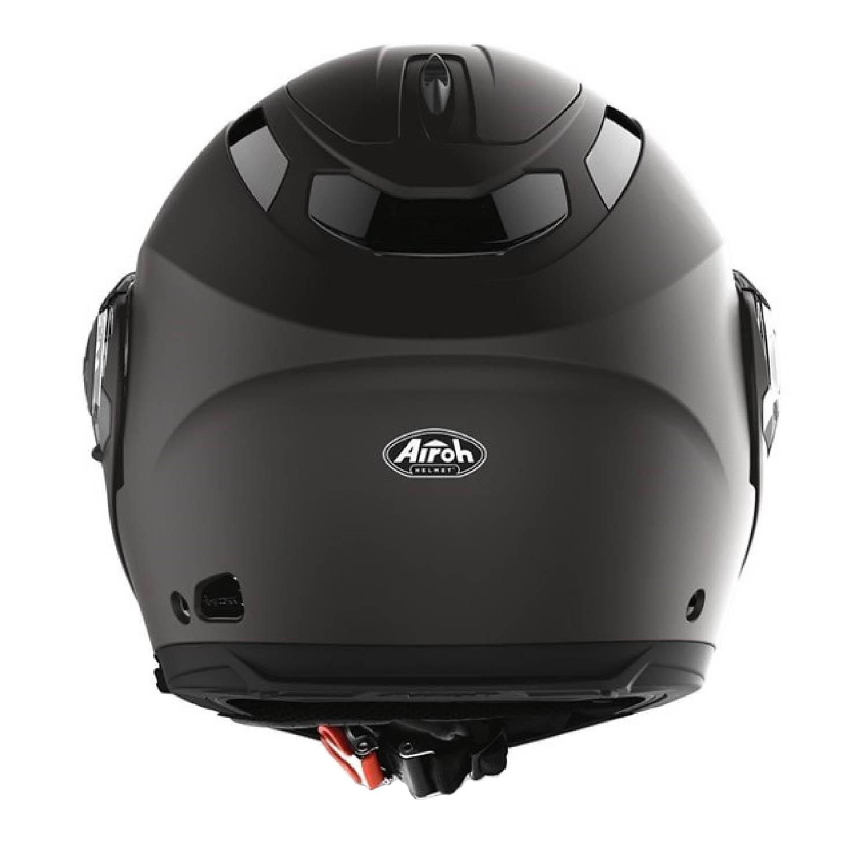 Шлем модулярный AIROH PHANTOM-S черного матового цвета, вид сзади купить по низкой цене