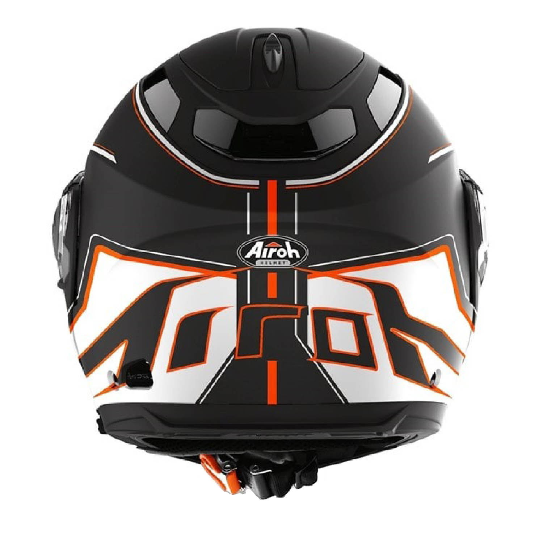 Шлем модулярный AIROH PHANTOM-S BEAT оранжевого матового цвета, вид сзади купить по низкой цене