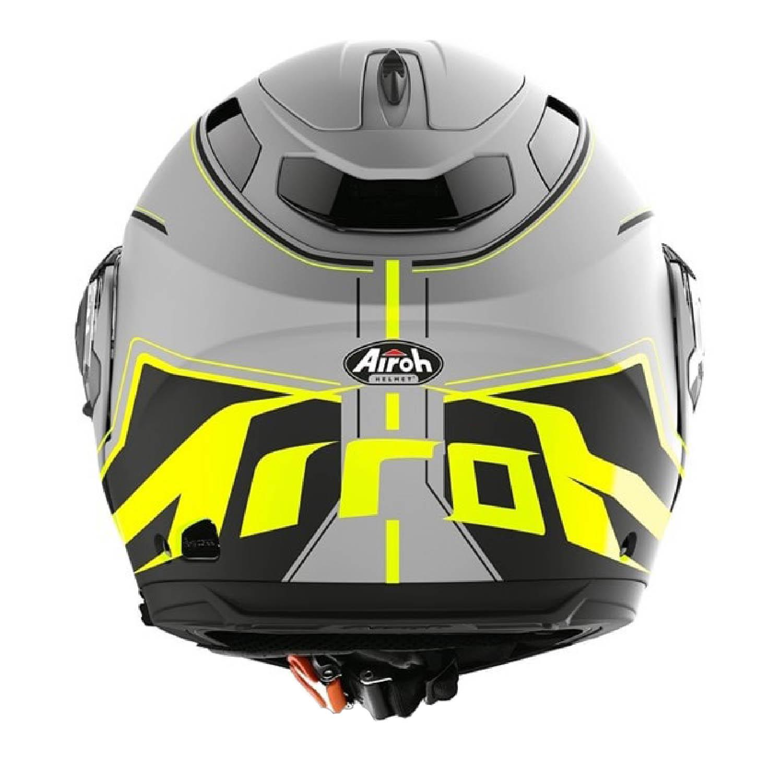 Шлем модулярный AIROH PHANTOM-S BEAT желтого матового цвета, вид сзади купить по низкой цене