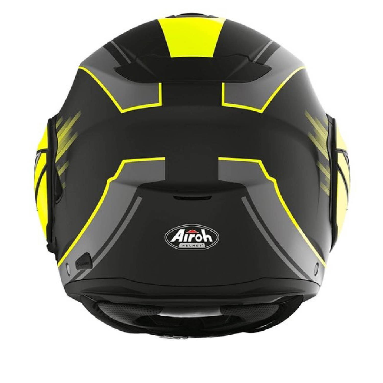Шлем модулярный AIROH REV 19 IKON желтого матового цвета, вид сзади купить по низкой цене