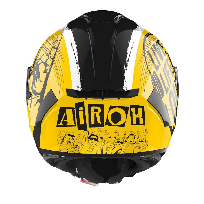 Шлем интегральный AIROH SPARK ROCK'N'ROLL вид сзади купить по низкой цене