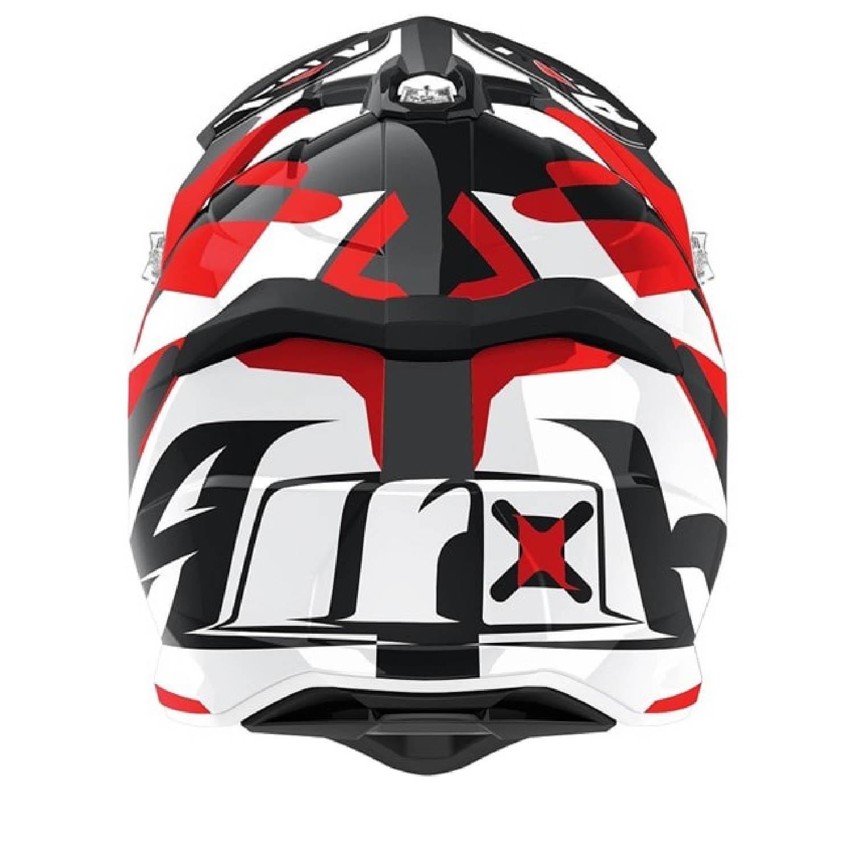 Шлем кроссовый AIROH STRYCKER XXX красного матового цвета, вид сзади купить по низкой цене