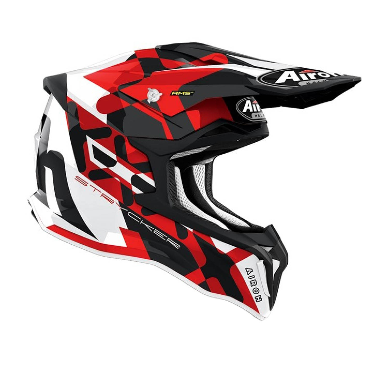 Шлем кроссовый AIROH STRYCKER XXX красного матового цвета, вид справа купить по низкой цене