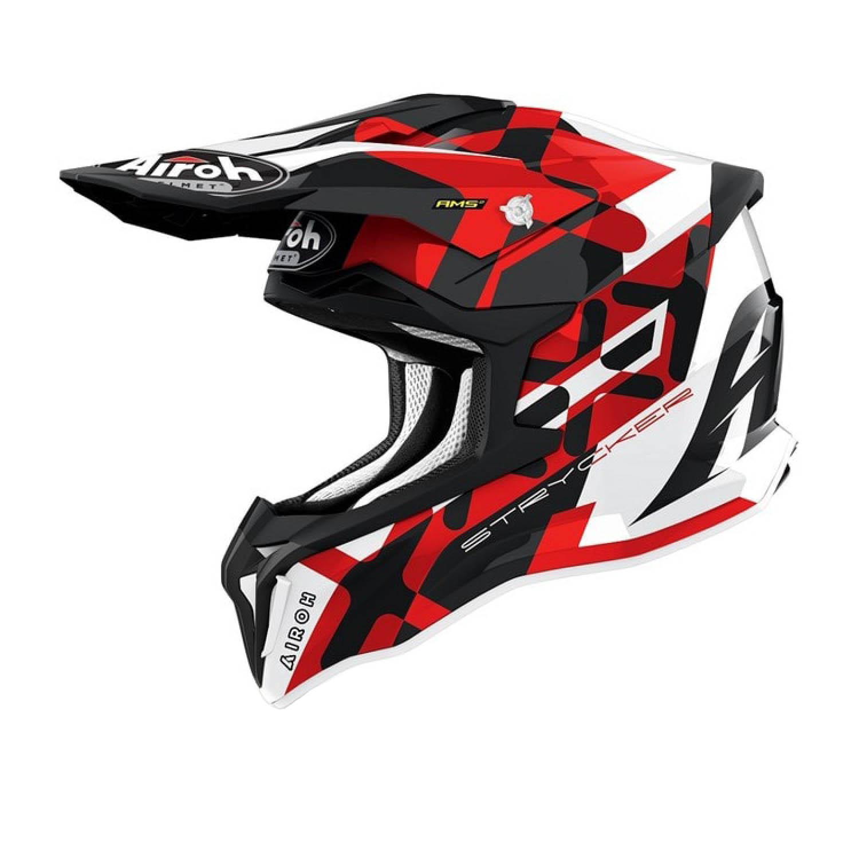 Шлем кроссовый AIROH STRYCKER XXX красного матового цвета купить по низкой цене