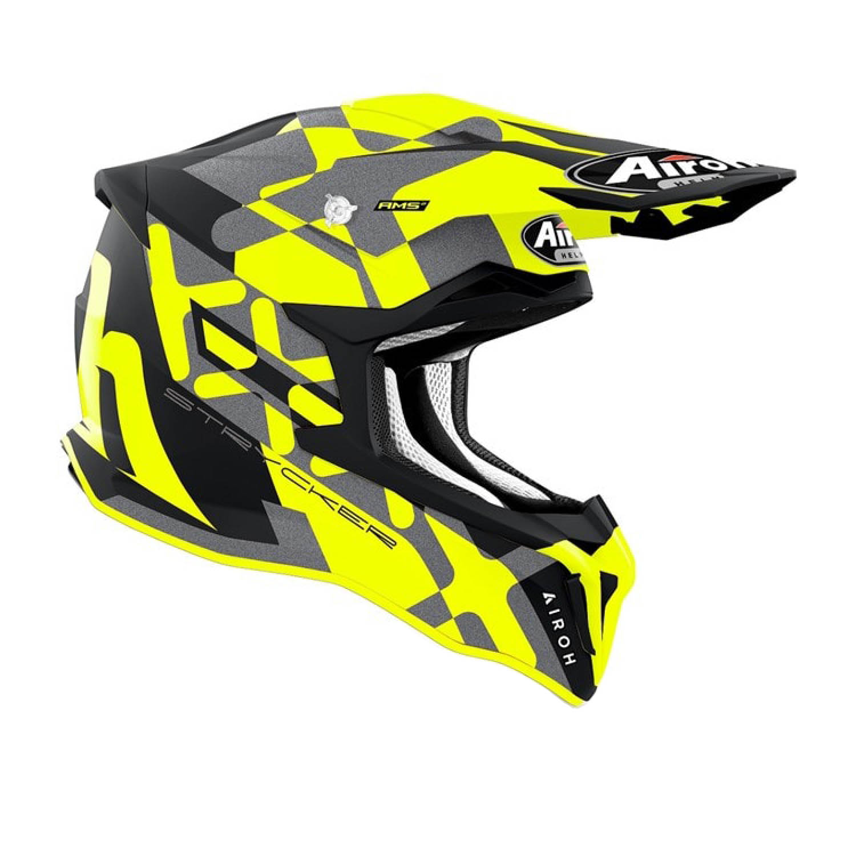 Шлем кроссовый AIROH STRYCKER XXX желтого матового цвета, вид справа купить по низкой цене