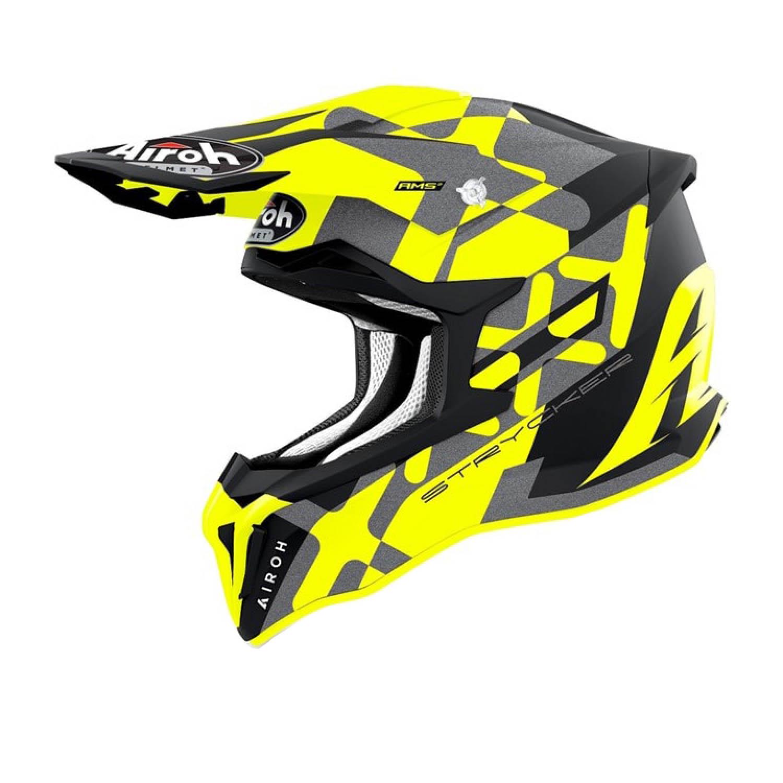 Шлем кроссовый AIROH STRYCKER XXX желтого матового цвета купить по низкой цене