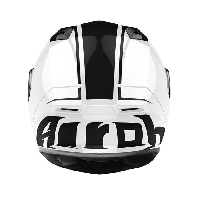 Шлем интегральный AIROH VALOR MARSHALL белого глянцевого цвета, вид сзади купить по низкой цене