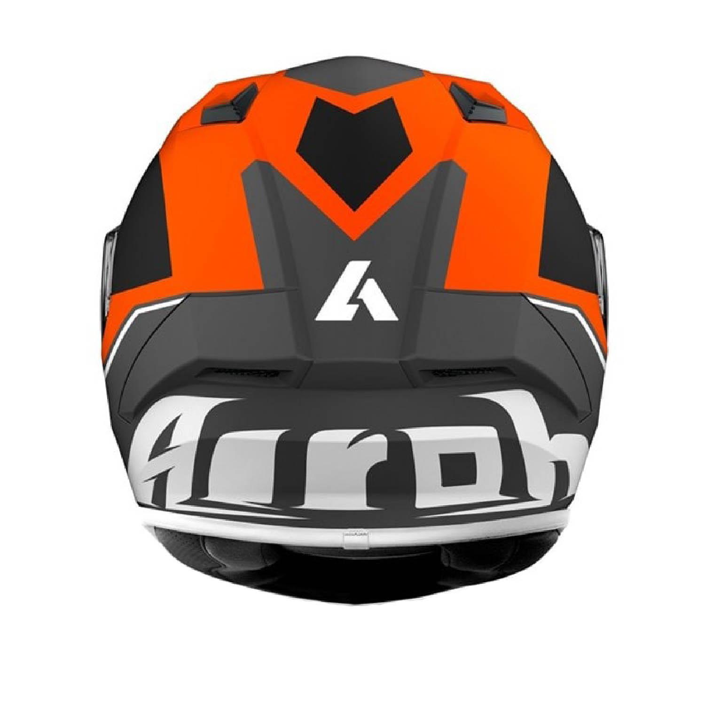 Шлем интегральный AIROH VALOR WINGS оранжевого матового цвета, вид сзади купить по низкой цене