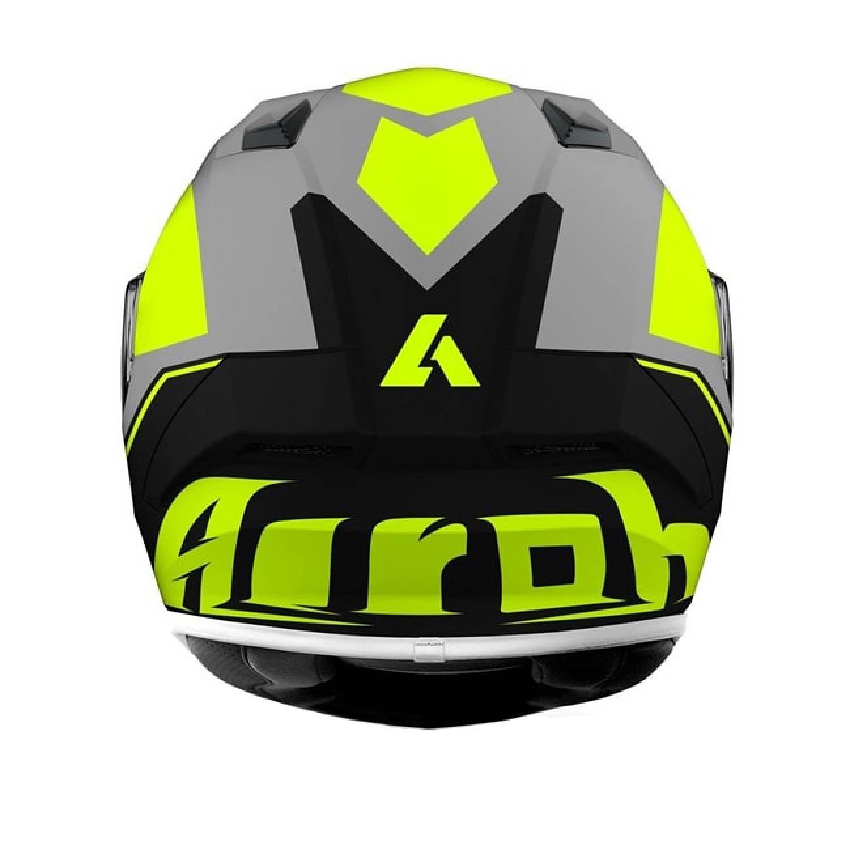 Шлем интегральный AIROH VALOR WINGS желтого матового цвета, вид сзади купить по низкой цене
