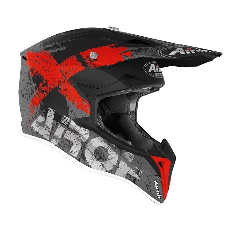 Шлем кроссовый AIROH WRAAP SMILE красного матового цвета, вид справа купить по низкой цене