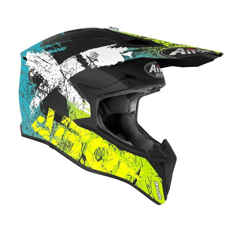 Шлем кроссовый AIROH WRAAP SMILE желтого матового цвета, вид справа купить по низкой цене
