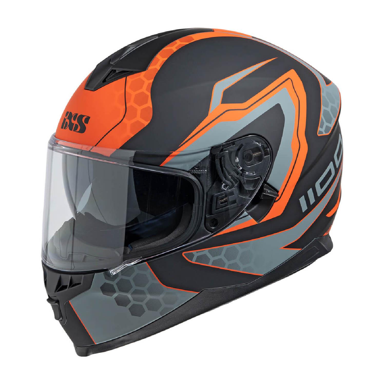 Шлем интегральный IXS 1100 2.2 черно-оранжево-серого цвета купить по низкой цене