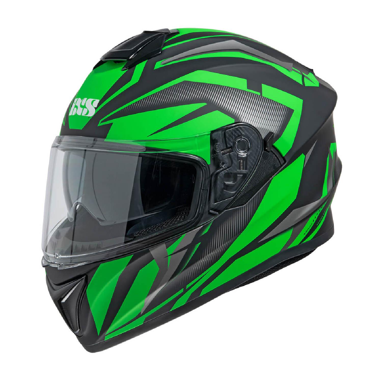 Шлем интегральный IXS 216 2.1 черно-зелёного цвета купить по низкой цене