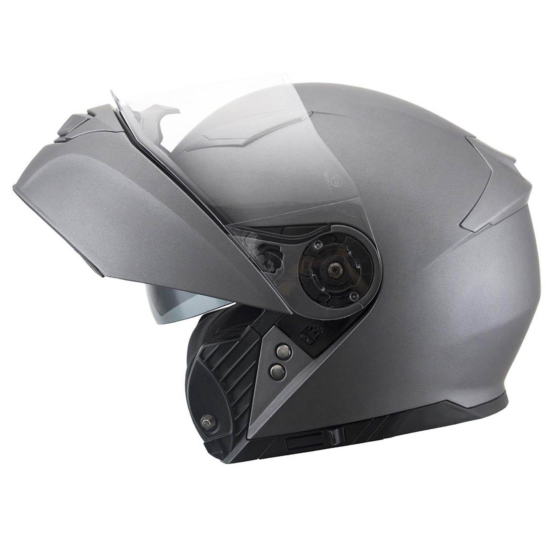 Casca modular IXS 300 1.0 титан матового цвета, вид открытый для мотоциклистов купить по низкой цене