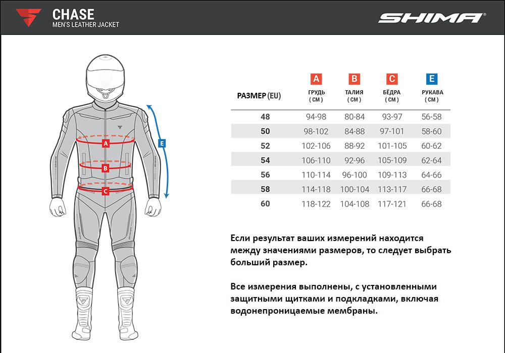 Куртки мотоциклетные SHIMA таблица размеров