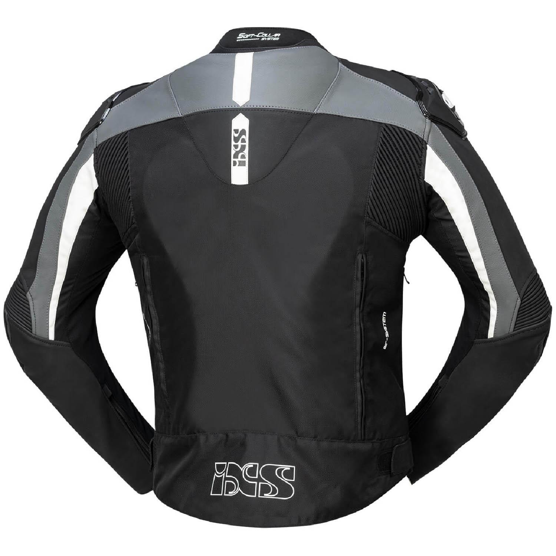 Спортивная куртка текстильная c кожаными вставками IXS SPORT LT RS-500 1.0 вид сзади для мотоциклистов купить по низкой цене